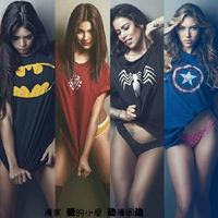Plus Size Women T Shirt Fashion Short Sleeve Spiderman Superman Venom Captain America Batman Iron Man T-Shirt Men Women Clothing