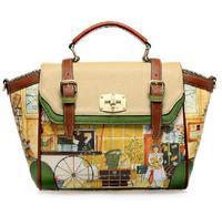 free shipping new designer  handbag fashion vintage oil printing women's cross-body preppy tote shoulder bag England style
