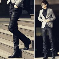 2014 New Fashion Hot Stylish Mens Skinny Slim Fit Waterproof Black Long Pants Trousers Slacks