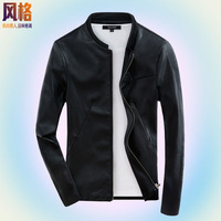 2014 spring and autumn jacket male slim stand collar thin outerwear autumn trend leather jacket leather clothing male