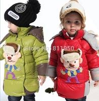 2013 children's winter clothing children outerwear male child down coat 1 - 3 years old female child plus velvet thickening down