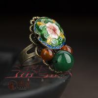 Loulan agate cloisonne flower decoration ring adjustable female vintage royal national trend accessories