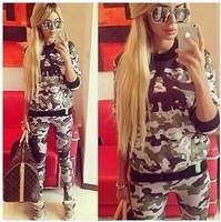2014 Hot selling Fashion sweatshirt, personality 3d Camouflage skull print women hoody, plus size sport suit women Good quality