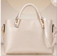 Quality fashion stripe embossed one shoulder handbag messenger bag ol bag cat bag The party package