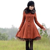 [LYNETTE'S CHINOISERIE - YHT ] Autumn Original Design Women Plus Size Elegant Slim Woolen Outerwear Overcoat S M L XL XXL XXXL