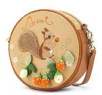 free shipping new fashion embroidery patchwork cute animal sweet women's fashion handbag cross-body cartoon barrel-shaped girl
