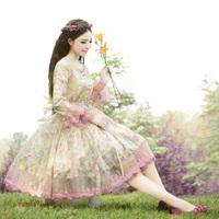 [LYNETTE'S CHINOISERIE - YHT ]  Autumn Original Design Women Plus Size Slim Floral Print Lace Patchwork Dress S M L XL XXL XXXL