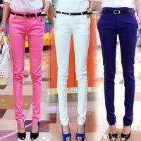 2014 autumn white trousers pants candy color pencil pants casual pants female