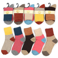 Vintage sock color block women socks thermal thickening rabbit wool socks autumn and winter socks