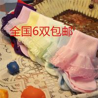6 double baby socks child socks laciness princess socks female child 100% cotton breathable baby socks 1 - 3