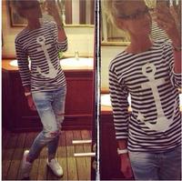 2014 Fashion striped T-shirt, Printing anchor navy shirt ,  women t shirt good quality Free shipping