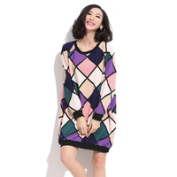 Fashion loose plus size color block dimond plaid print o-neck raglan sleeve pocket casual long-sleeve dress female