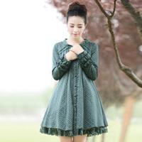 [LYNETTE'S CHINOISERIE - YHT ] Autumn New Original Design Women Plus Size Lace Patchwork Print Loose Shirt Sz S M L XL XXL XXXL