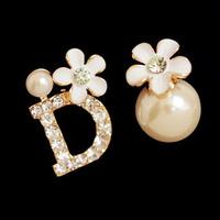 Fashion all-match small fresh small asymmetrical little daisy pearl flower stud earring earrings earring