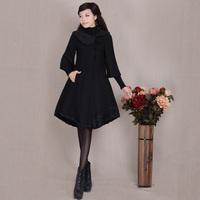 [LYNETTE'S CHINOISERIE - YHT ]  Autumn Women Plus Size Vintage Elegant Three Quarter Sleeve Woolen Overcoat Sz S M L XL XXL XXXL
