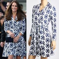 2014 Women's Dress Kate Dress Senior Autumn and Winter Basic Style Navy Blue Print Dress 1414