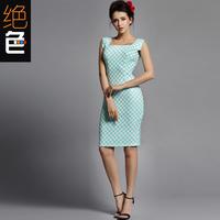 2014 autumn elegant fashion ol square collar dot slim medium short-sleeve women's one-piece dress
