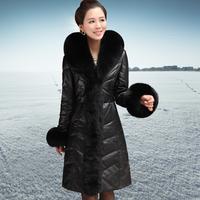 2014 leather clothing female genuine leather down coat long design fox fur sheep fur coat