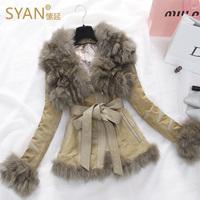 2014 fox fur coat genuine leather fur one piece women's fur