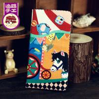 Handmade fabric material diy wallet circus design long wallet high quality wallet free shipping
