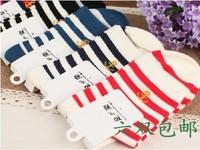 Hot-selling autumn and winter stripe knee-high socks 100% cotton socks anchor socks
