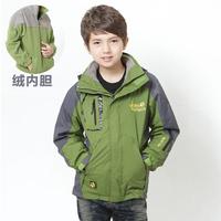 8 - 16 years 2 piece boy coat waterproof jacket + fleece liner children coat autumn winter outdoor kids jackets  thicken trench