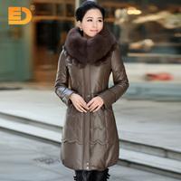 2014 women's genuine sheepskin leather down coat medium-long leather clothing fur plus size clothing outerwear