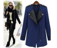 2014 Winter women's trench leather patchwork zipper slim medium long overcoat female trench outerwear woolen jaquetas