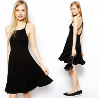 Fashion office dress adjustable cross spaghetti strap black knitting office dress