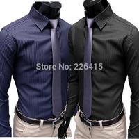 2014 new mens dress shirts stripe long-sleeve men shirt slim fit casual camisa social masculina HOT SALE M-XXL Free Shipping