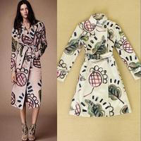 2014 women's fashion high quality british style fashion vintage elegant print trench women's outerwear