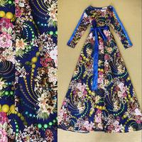 Fashion women's fashion vintage 2014 lacing velvet print formal dress full dress one-piece dress