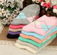 Candy color dimond plaid socks knee-high socks cotton socks
