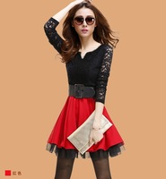 2014 autumn women's sexy V-neck elegant slim lace patchwork long-sleeve dress