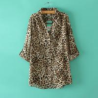 Free shipping 2014 Women's new Leopard Wild Sexy Sleeve Shirt Big yards Tops