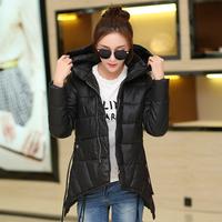 Free mail cargo winter plus size irregular shaped A - type medium-long hooded wadded jacket female cotton-padded jacket