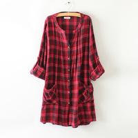 Free shipping 2014 women's new fall Wild plaid shirt