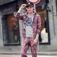 2014 autumn teenage with a hood casual sweatshirt male sports cardigan set tm434