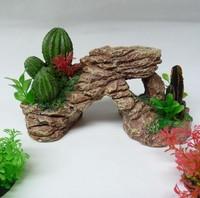 Fish tank ornament rockery decoration cactus grass rock stone with holes L22cm*H14cm*W9.5cm free shipping