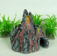 Free shipping Aquarium Decoration Rockery volcano fish tank resin ornament L13cm* H13cm*W10cm