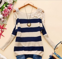 - e933 2014 autumn women's square collar strapless crochet all-match h-18 stripe sweater