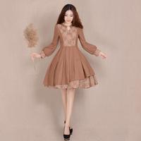 [LYNETTE'S CHINOISERIE - YHT ] Autumn Original Design Women Plus Size Vintage Slim Patchwork Woolen Dress Sz S M L XL XXL XXXL