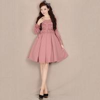 [LYNETTE'S CHINOISERIE - YHT ] Winter Women Plus Size Vintage Sweet Slim Lace Patchwork Woolen Pink Dress Sz S M L XL XXL XXXL