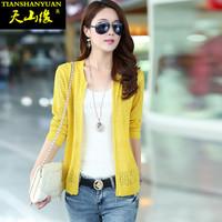 2014 summer autumn sweater female cardigan thin short design long-sleeve air conditioning cutout shirt zipper coat