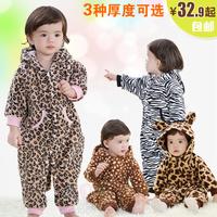 Leopard print milk velvet infant bodysuit thermal autumn and winter newborn clothes baby romper baby