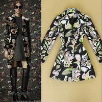 Fashion high quality autumn and winter 2014 women's vintage fancy slim medium-long woolen women's outerwear