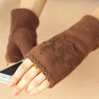 Women's lace decoration semi-finger gloves cashmere wool thermal mittens warm winter retro elegant female whole sale women New