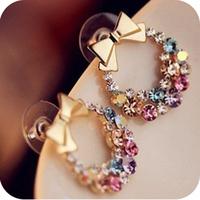Accessories delicate sparkling diamond multi-colored rhinestone cuicanduomu bow stud earring