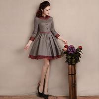 [LYNETTE'S CHINOISERIE - YHT ] Autumn Women Plus Size Elegant Vintage Elegant Slim Organza Cotton Dress Sz S M L XL XXL XXXL