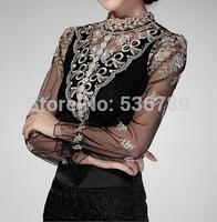 new 2014 autumn fashion gauze basic shirt female long sleeve lace mesh stand collar blouse top slim sheer shirt